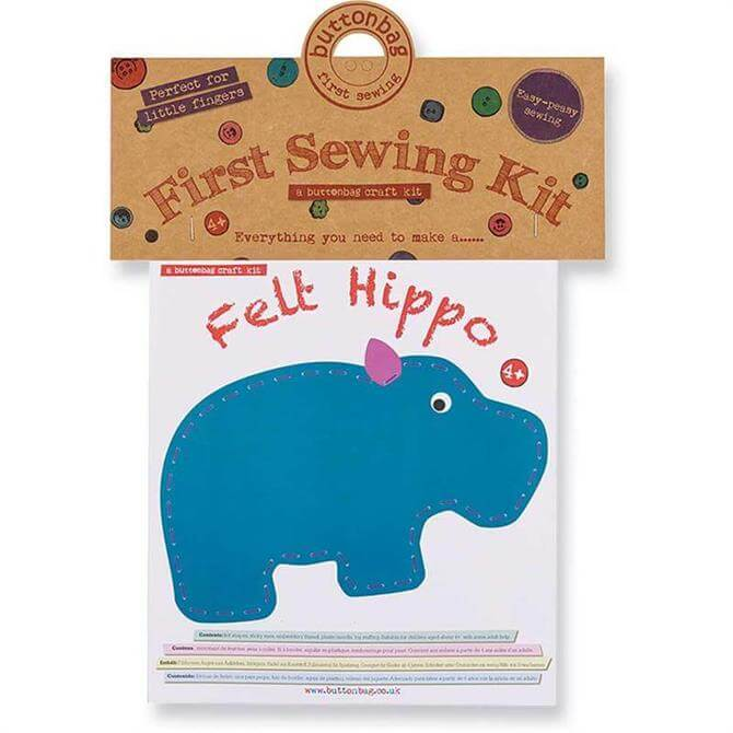 Button Bag First Sewing Kit - Hippo