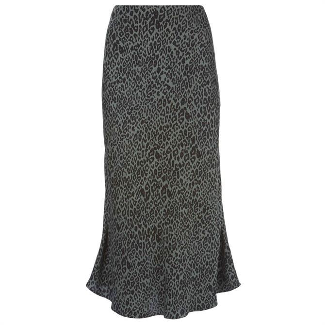 Mint Velvet Khaki Philippa Print Skirt