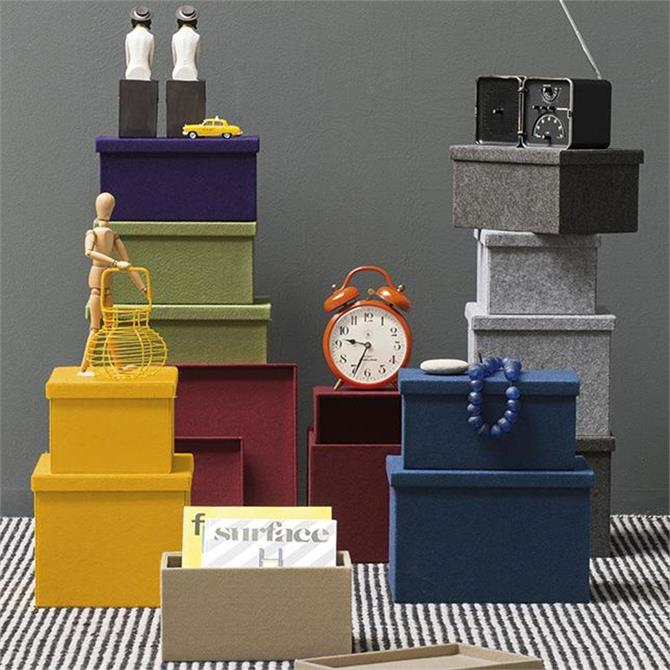 Calligaris Storage Boxes Felt Grey
