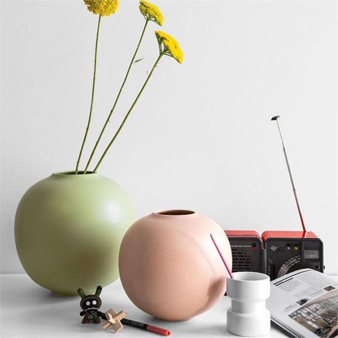 Calligaris Ceramic Matt Vase in Light Pink 28cm