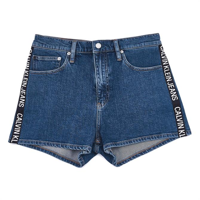Calvin Klein High Rise Logo Denim Shorts