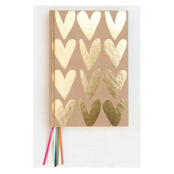 Caroline Gardner Kraft Gold Hearts Notebook with Multi Ribbon Page Markers
