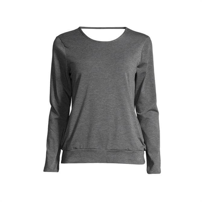 Casall Women's Soft Wrap Yoga Sweater- Dark Grey Melange