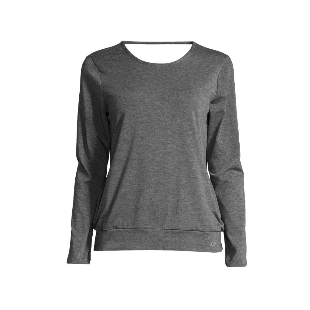 An image of Casall Women's Soft Wrap Yoga Sweater- Dark Grey Melange - S, DK/GREY