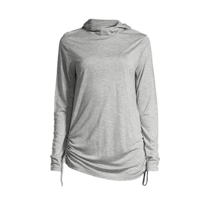 Casall Women's Gathered Side Fitness Hoody- Grey Melange