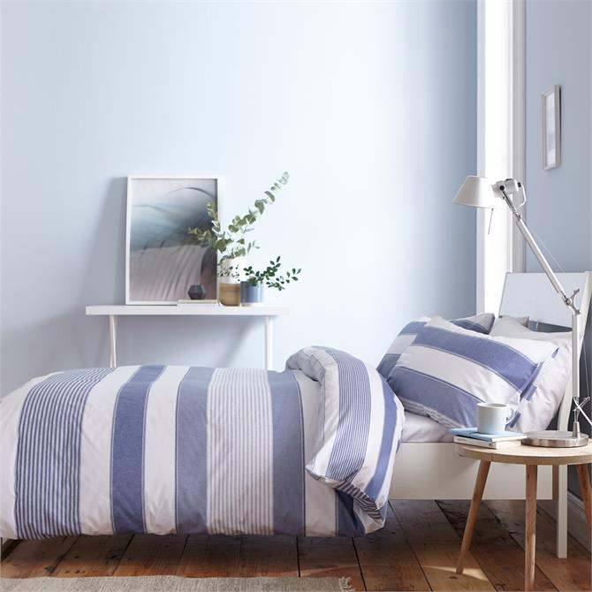 Catherine Lansfield Blue Newquay Stripe Quilt Set