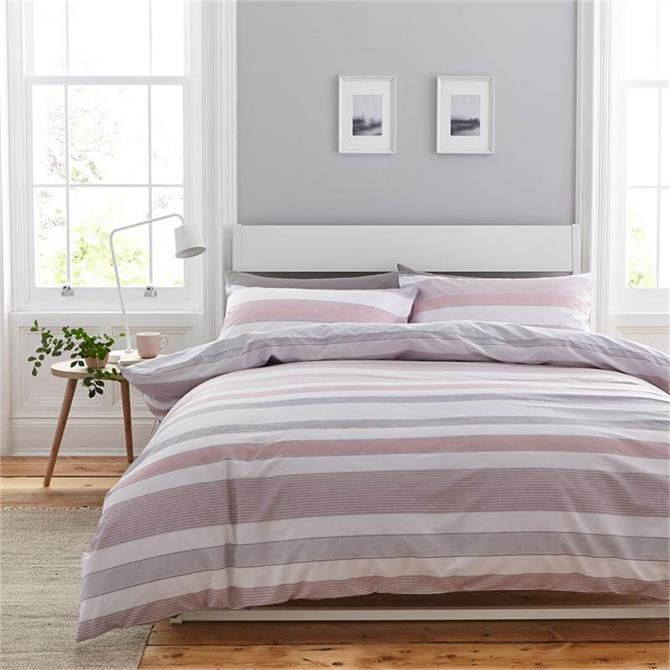 Catherine Lansfield Pink Newquay Stripe Quilt Set