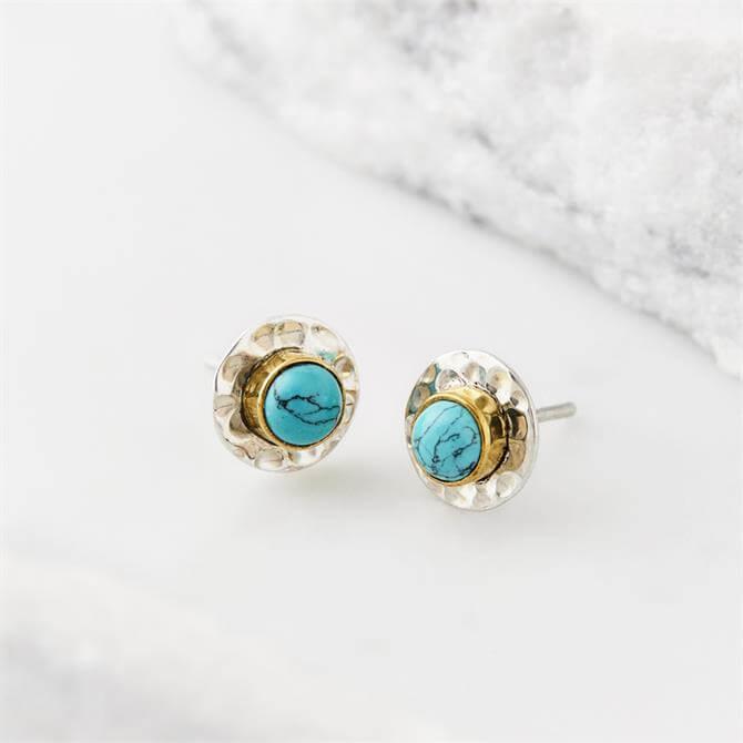 Charlotte's Web Gemstone Disc Stud Earrings