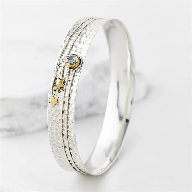 Charlotte's Web Celestial Moon Silver Bangle