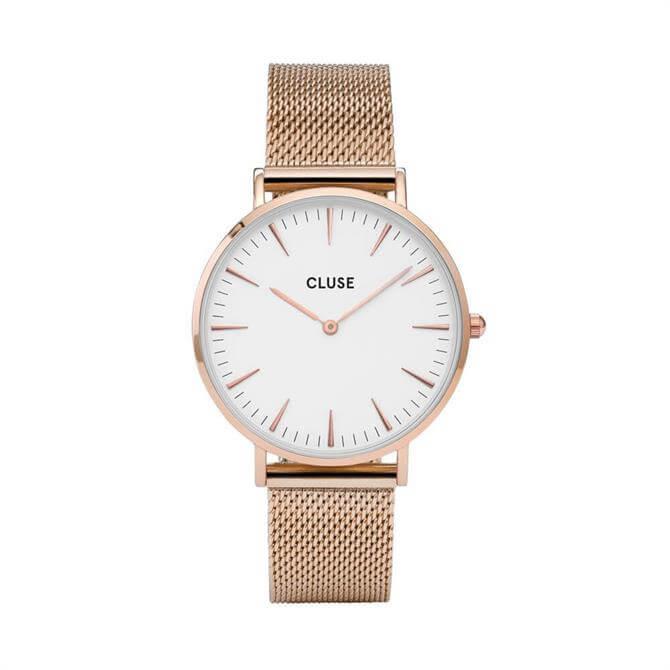 Cluse La Bohème Mesh Rose Gold/White Watch