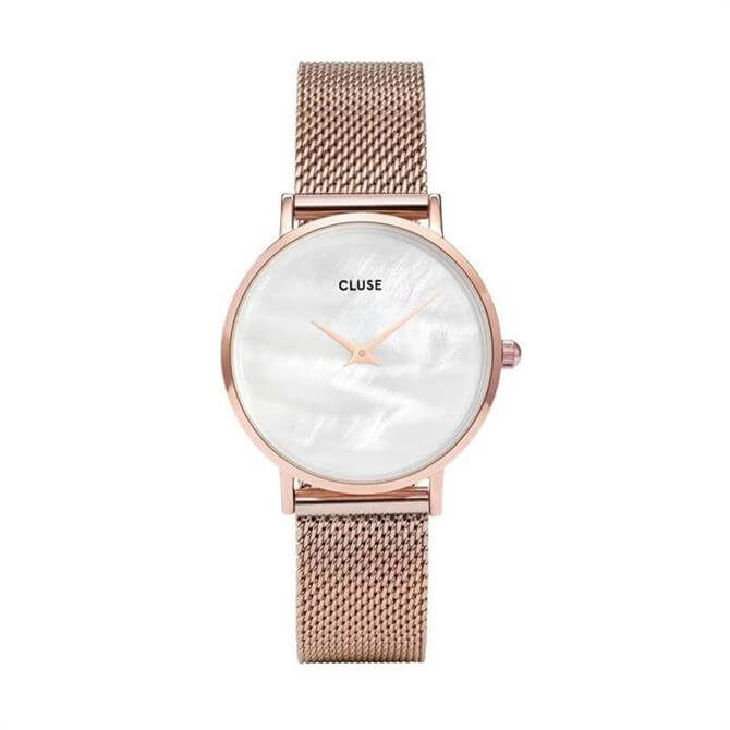 Cluse Minuit La Perle Rose Gold/White Pearl Mesh Watch