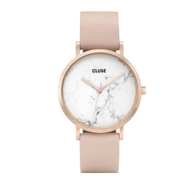 Cluse La Roche Rose Gold White Marble/Nude Watch
