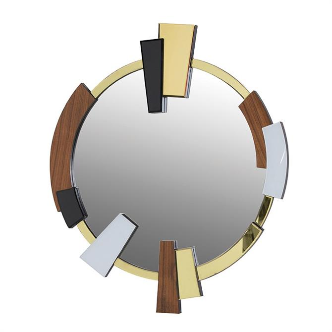 Coach Round Wood and Glass Abstract Mirror