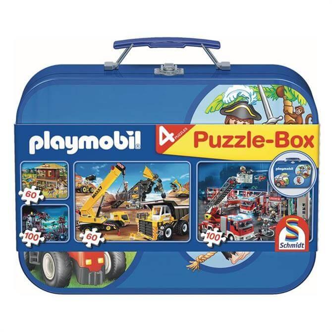 Playmobil 4 Puzzle Keepsake Tin Blue