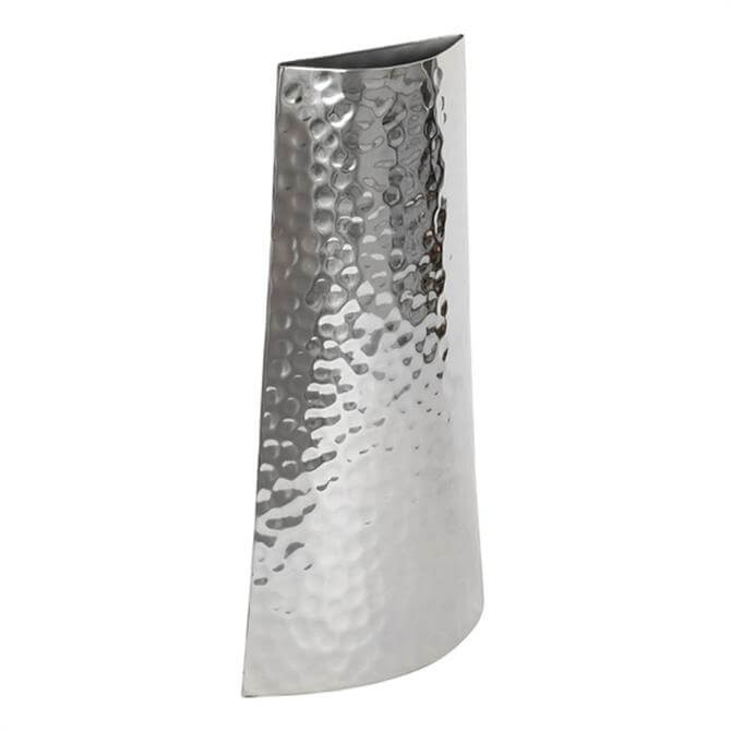 Culinary Concepts Small Hammered Silver Curved Vase
