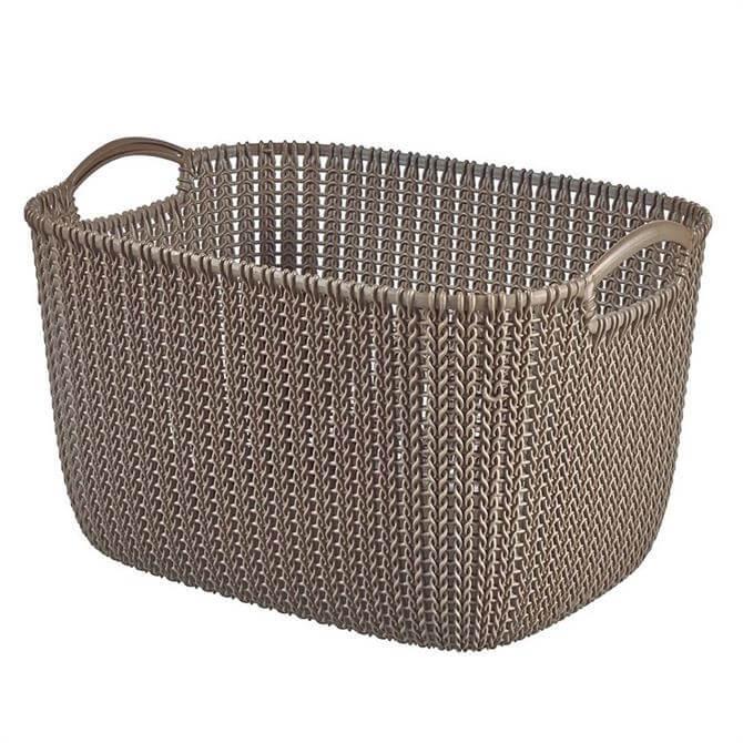 Curve Resin Knit Rectangular Basket: 19 Litre
