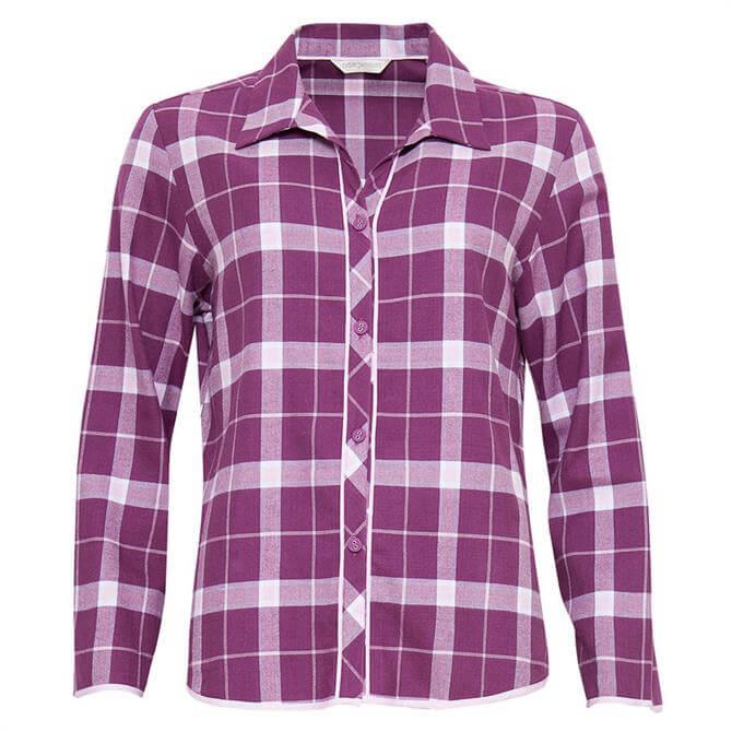 Cyberjammies Fiona Woven Long Sleeve Brushed Check Pyjama Top