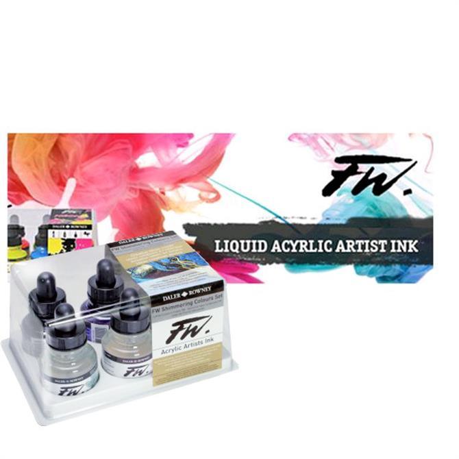 Daler Rowney FW Shimmering Colours Ink Set