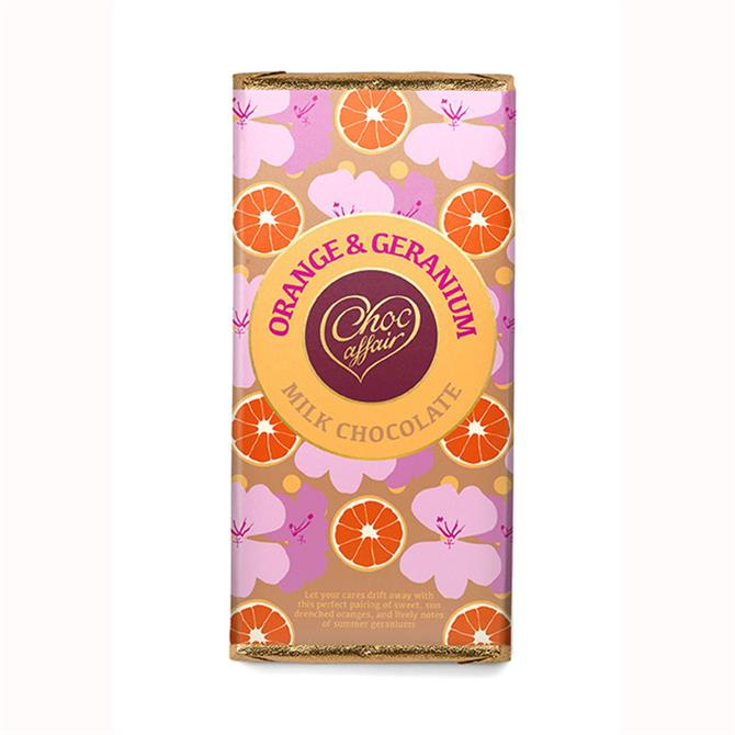 Choc Affair Orange & Geranium Milk Chocolate Bar 90g