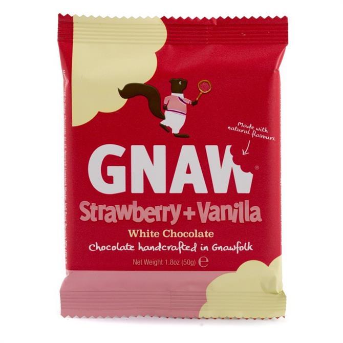 Gnaw Strawberry & Vanilla White Chocolate Mini Bar 50g