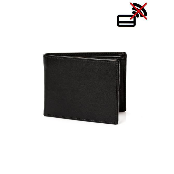 Dents Smooth Black Leather Trifold Wallet with RFID
