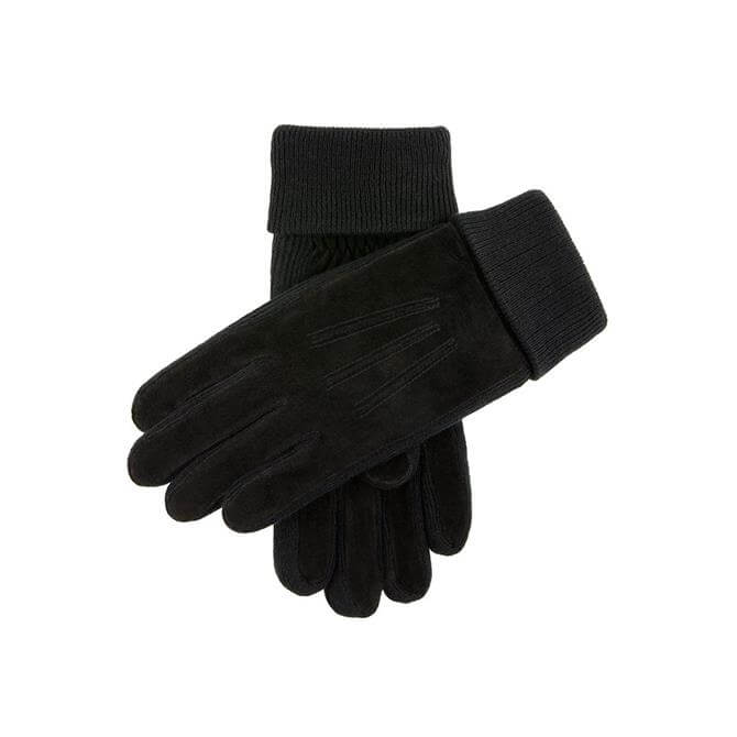 Dents Men's Kendal Fleece Lined Suede Gloves with Knitted Cuffs