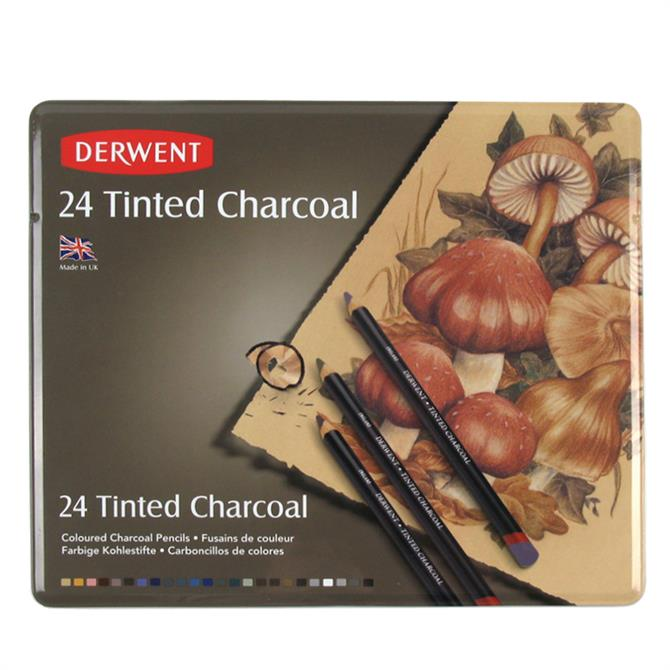 Derwent Tinted Charcoal 24 Pencil Tin