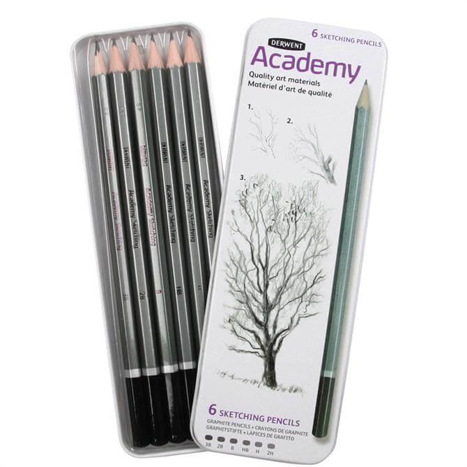 Derwent Academy 6 Sketching Pencils Tin