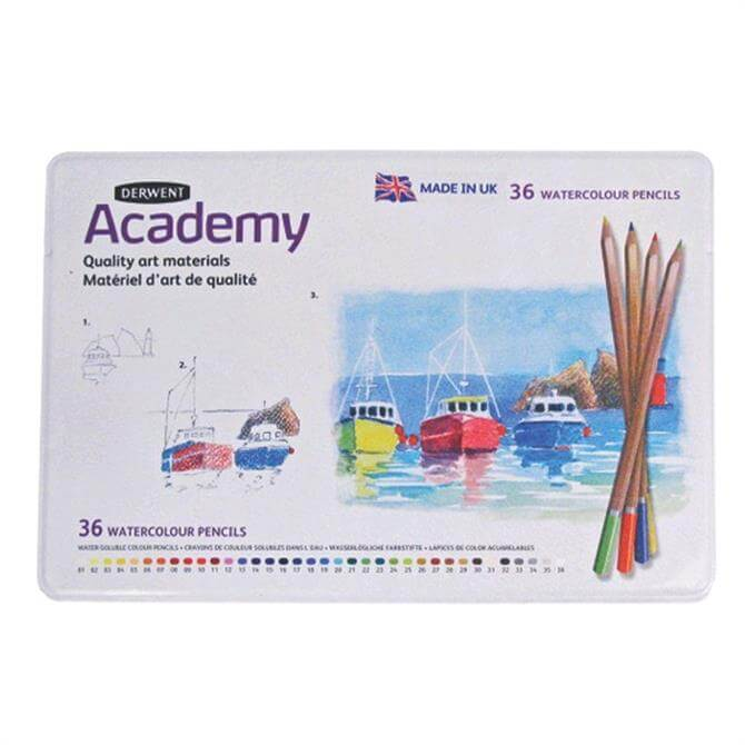 Derwent Academy 36 Watercolour Tin