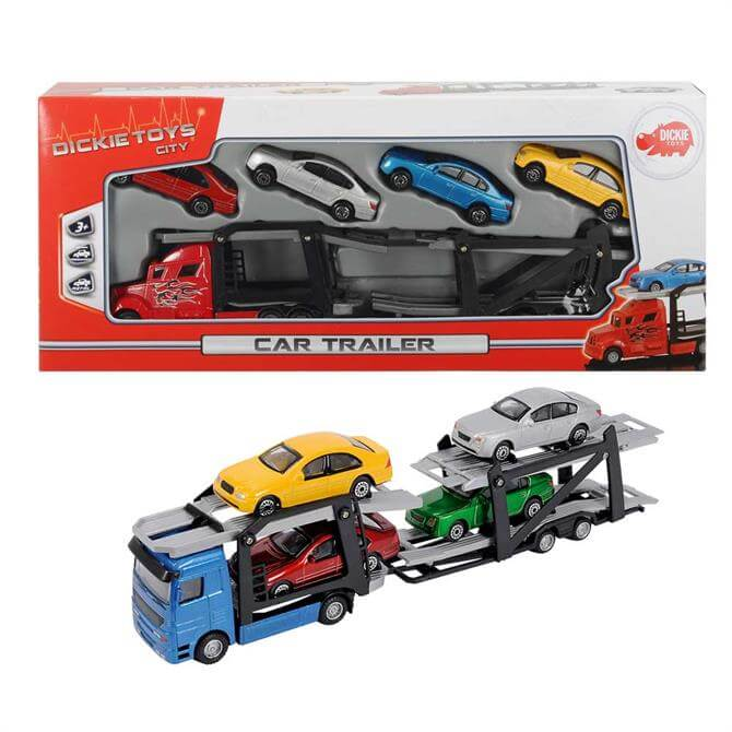 Dickie Toys Diecast Trailer with Four Cars