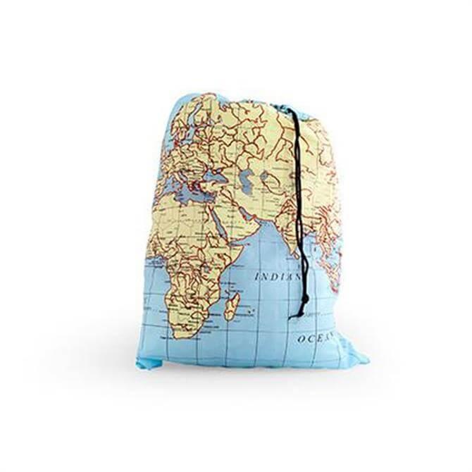 Kikkerland Maps Travel Laundry Bag