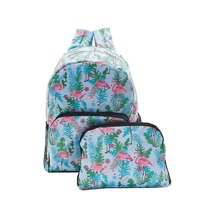 Eco Chic Foldable Mini Backpack - Blue Flamingo