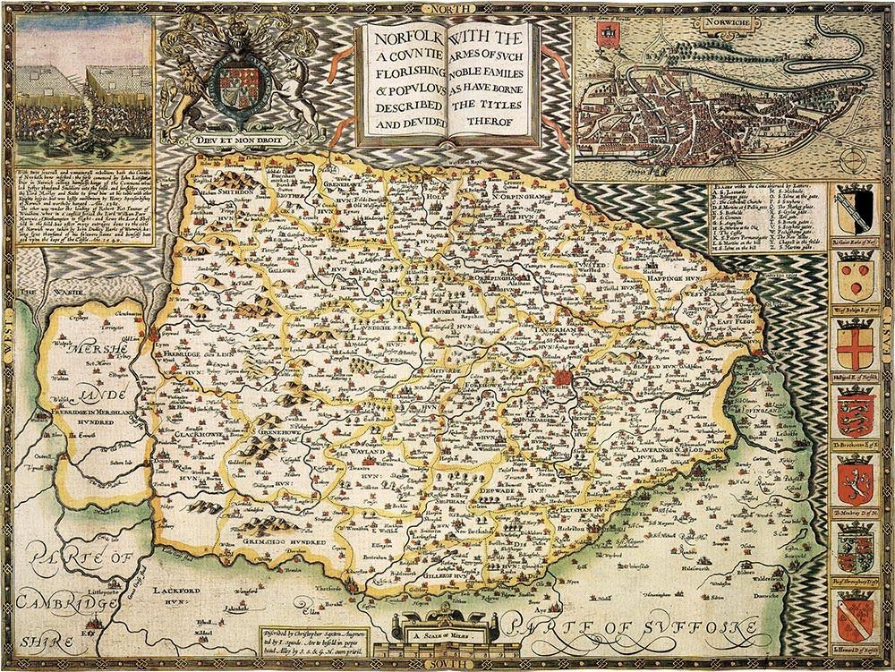 An image of 1610 Map of Norfolk Jigsaw Puzzle (1000 pieces)