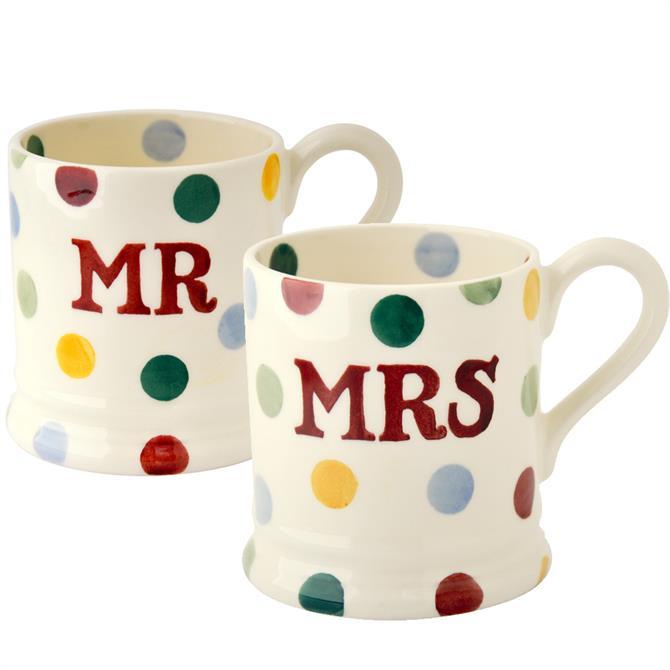 Emma Bridgewater Polka Dot Mr & Mrs 1/2 Pint Mugs