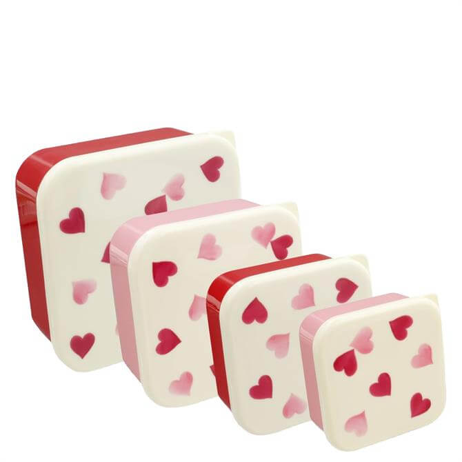 Emma Bridgewater Pink Hearts Set of 4 Snack Boxes