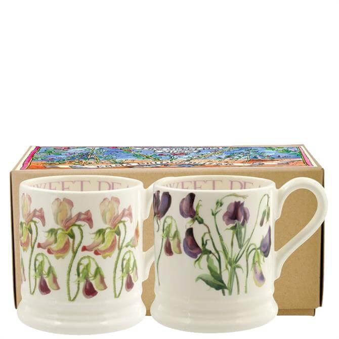 Emma Bridgewater Sweet Pea Flower Set of 2 ½ Pint Mugs