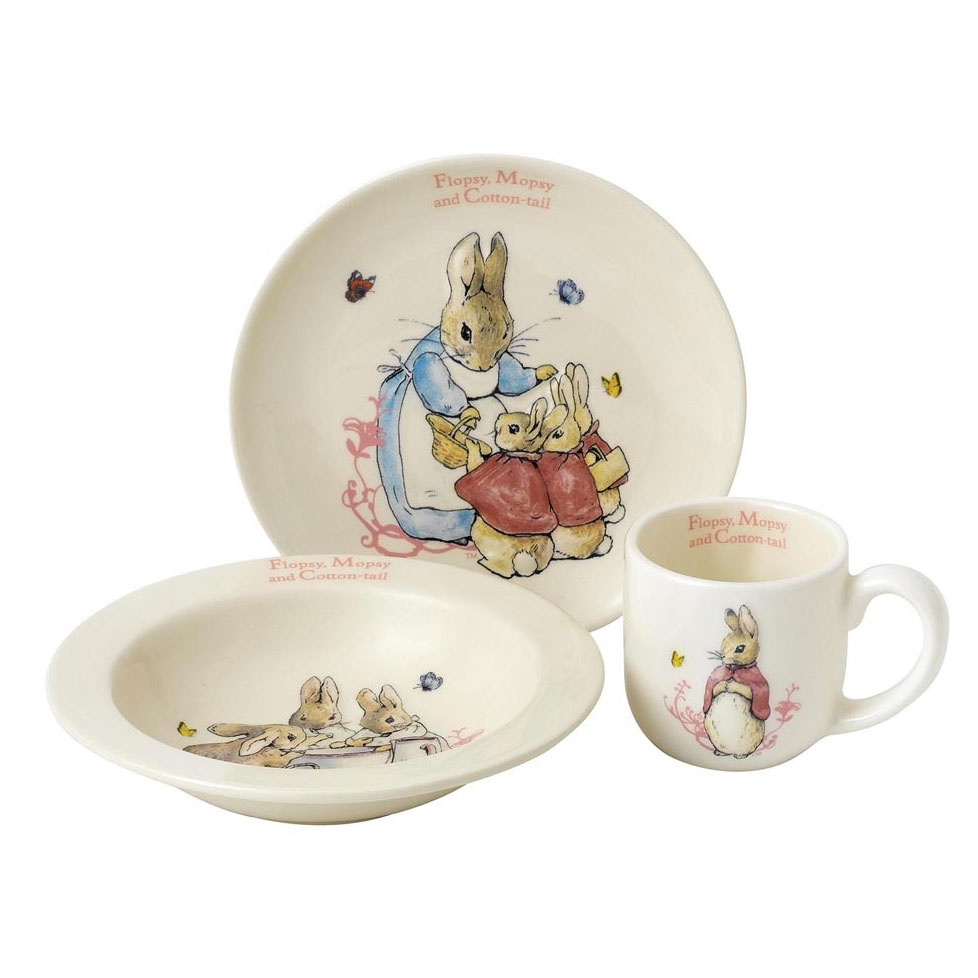 An image of Enesco Flopsy Mopsy and Cotton Tail Nursery Set