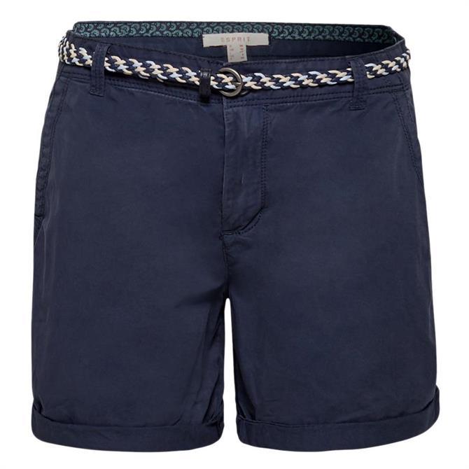 Esprit Garment Washed Braided Belt Shorts