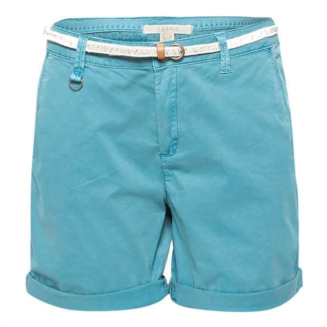 Esprit Stretch Cotton Braided Belt Shorts