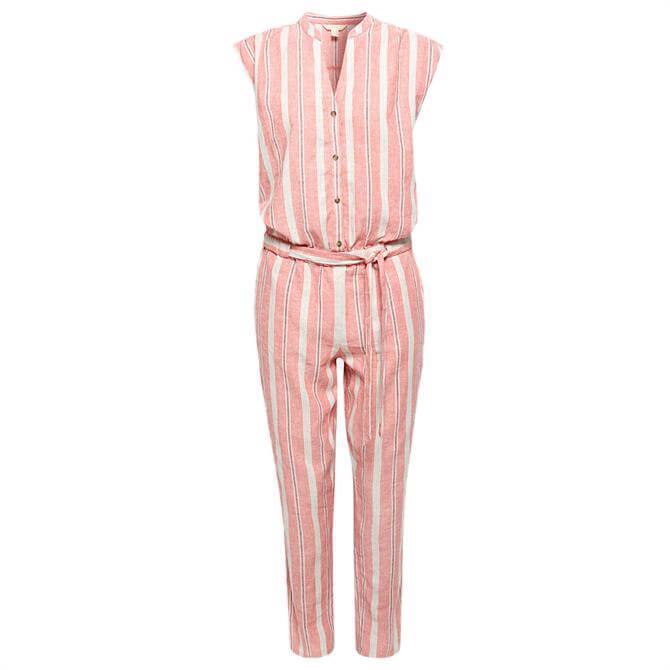 Esprit Linen Blend Striped Jumpsuit