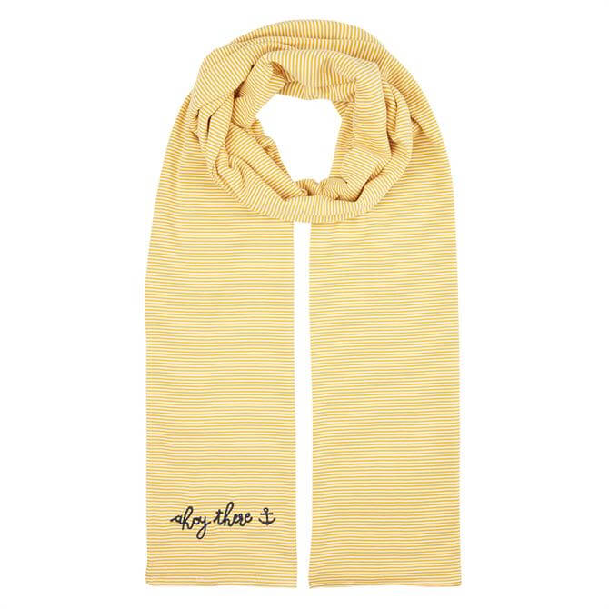 Joules Coast Striped Embroidered Scarf
