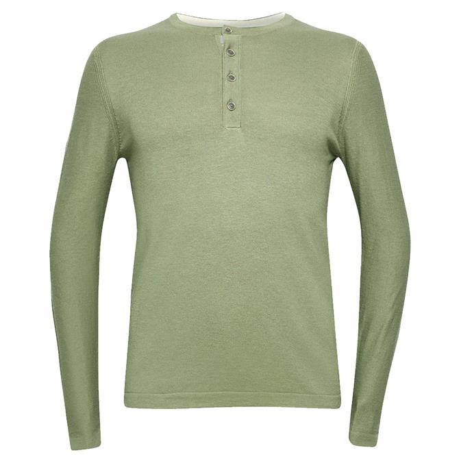 Esprit Men's Henley Linen Blend Sweater