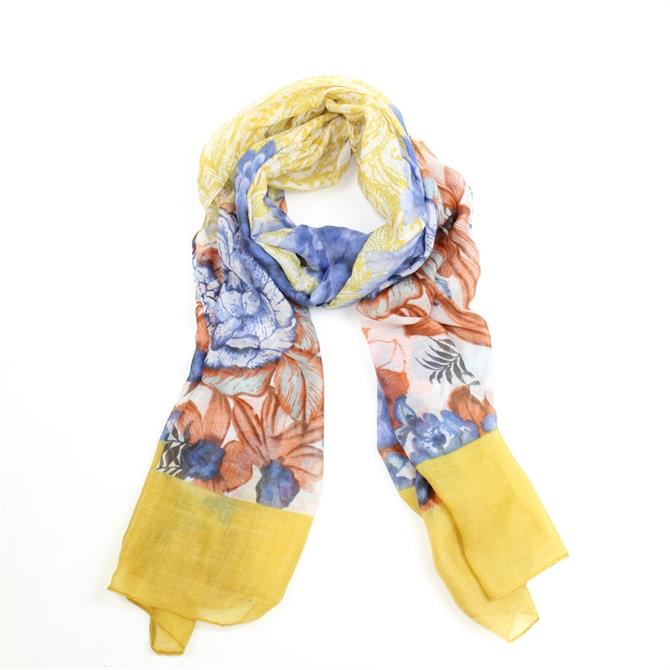 F&J Floral with Yellow Band Scarf
