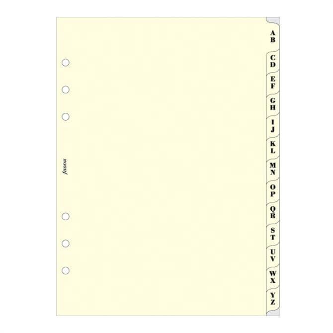 Filofax A5 Diary Cream A-Z Index Refill