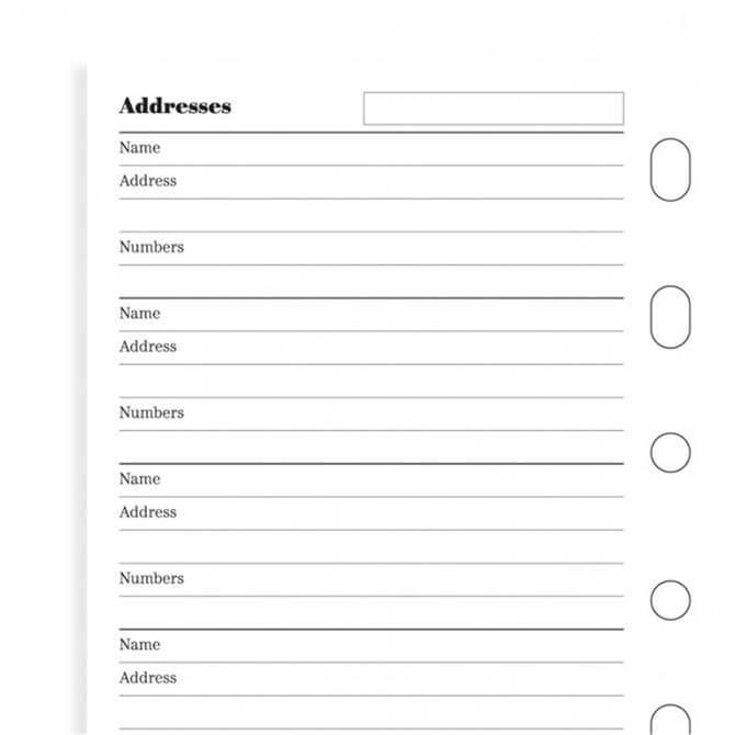 Filofax Mini Diary Name & Contact Information Refill