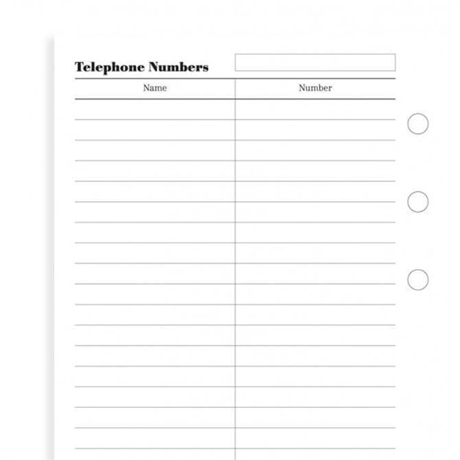 Filofax Personal Diary Name & Telephone Refill