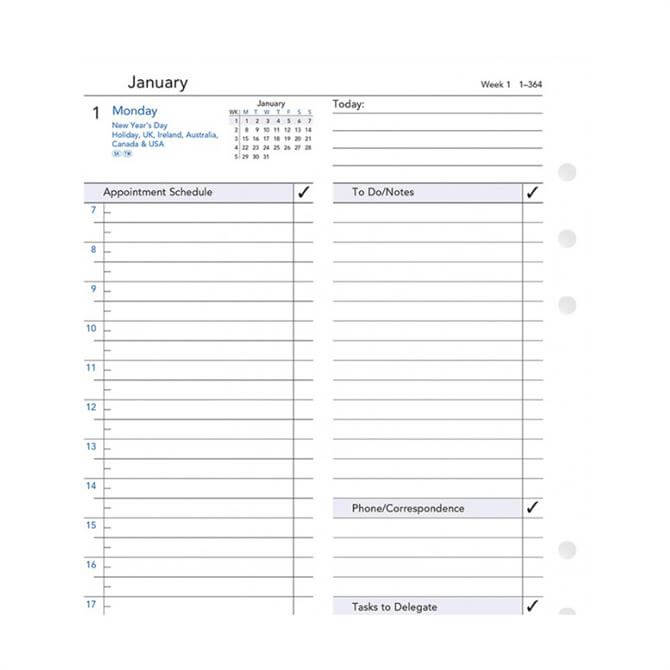 Filofax 2019 Day Per Page A5 Appointments Diary