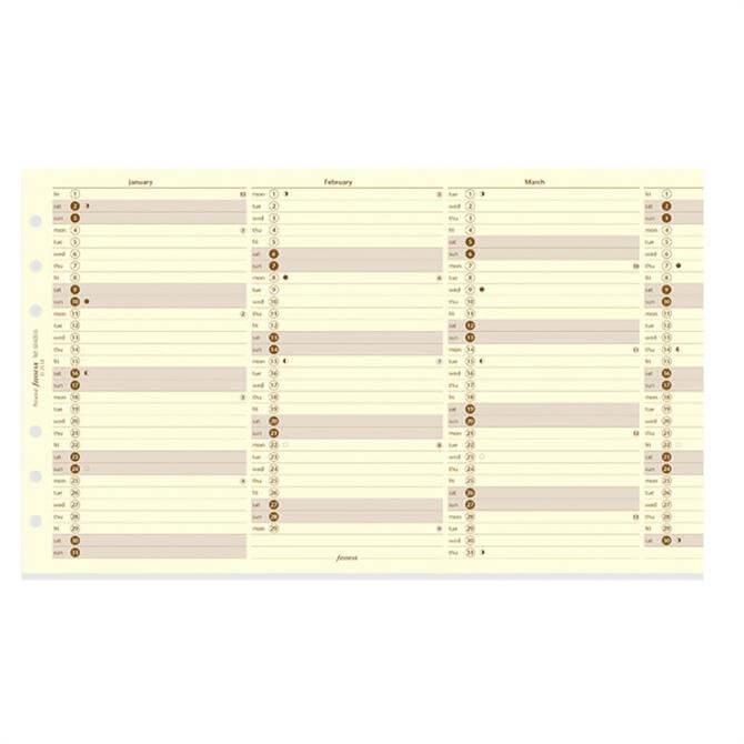 Filofax 2019 Personal Vertical Year Planner