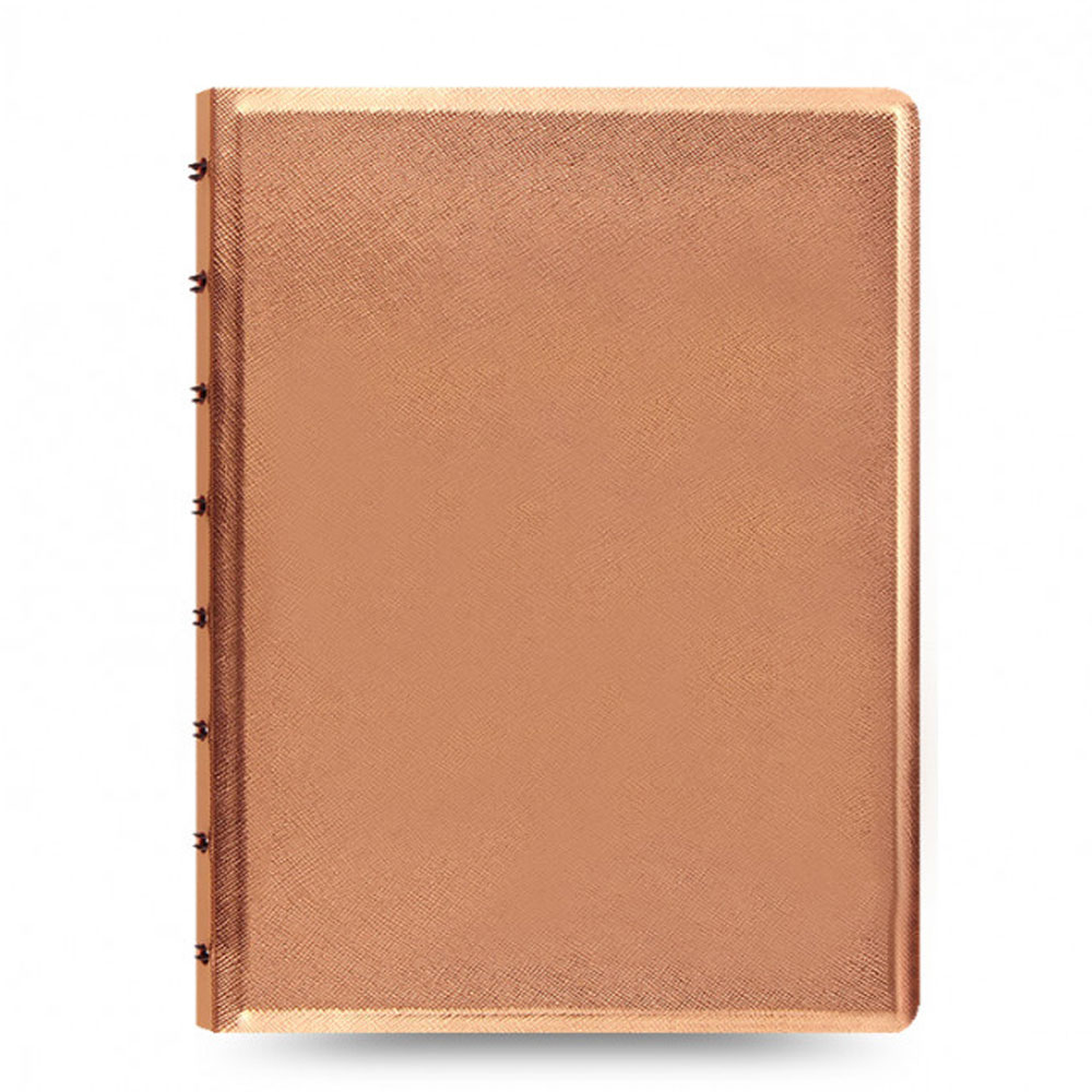 An image of Filofax A5 Saffiano Metallic Rose Gold Notebook - RULED, ROSEGOLD