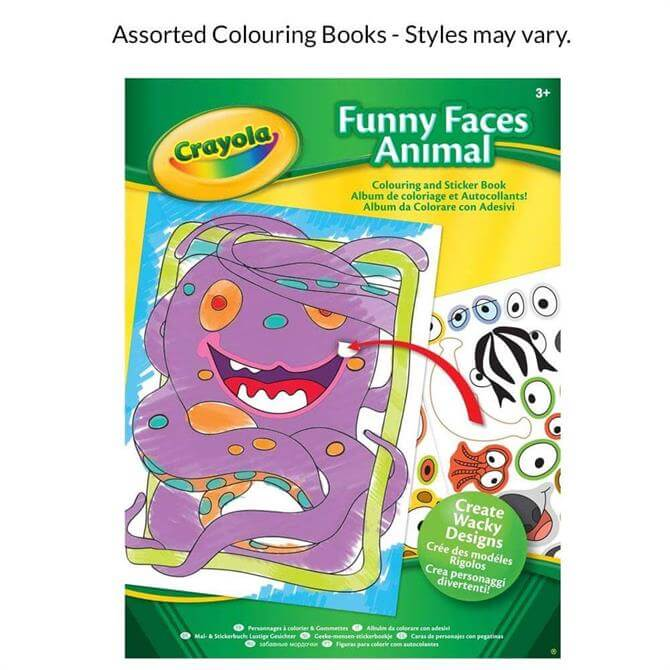 Crayola Funny Faces People/Animals Colouring and Sticker Book